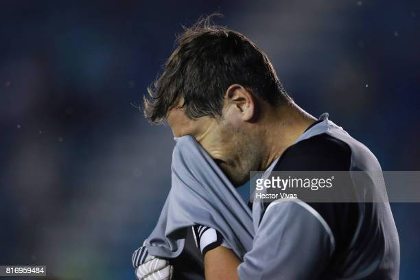 Iker Casillas of Porto reacts during a match between Cruz Azul and Porto as part of Super Copa Tecate at Azul Stadium on July 17 2017 in Mexico City...