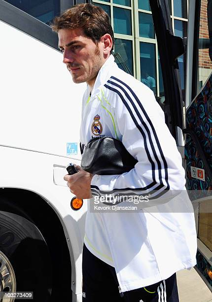 Iker Casillas of Real Madrid arrives to participate in the Adidas training with local youth soccer players on August 5 2010 in the Westwood section...