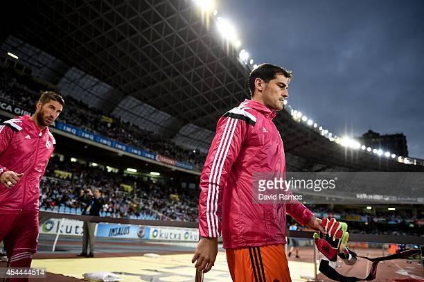 Iker Casillas of Real Madrid CF walks onto the pitch prior to the La Liga match between Real Sociedad de Futbol and Real Madrid CF at Estadio Anoeta...