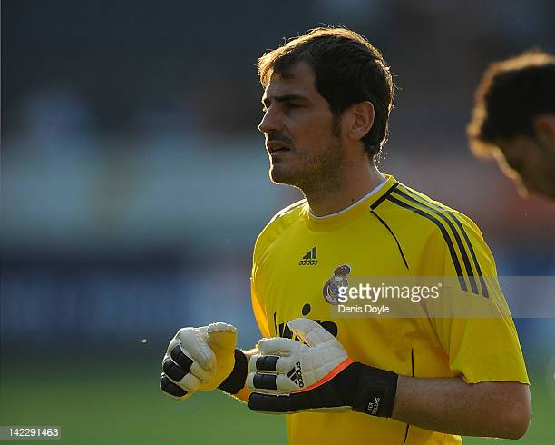 Iker Casillas of Real Madrid CF warms up before the La Liga match between CA Osasuna and Real Madrid CF at Estadio Reyno de Navarra on March 31 2012...