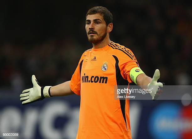 Iker Casillas of Real Madrid during the UEFA Champions League Group C match between AC Milan and Real Madrid at the San Siro on November 3 2009 in...