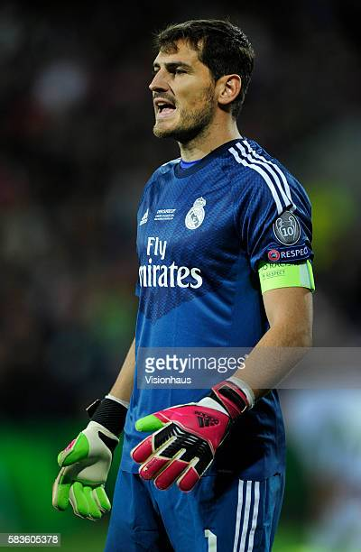 Iker Casillas of Real Madrid during the UEFA Super Cup Final between Real Madrid and Sevilla at the Cardiff City Stadium in Cardiff UK Photo...