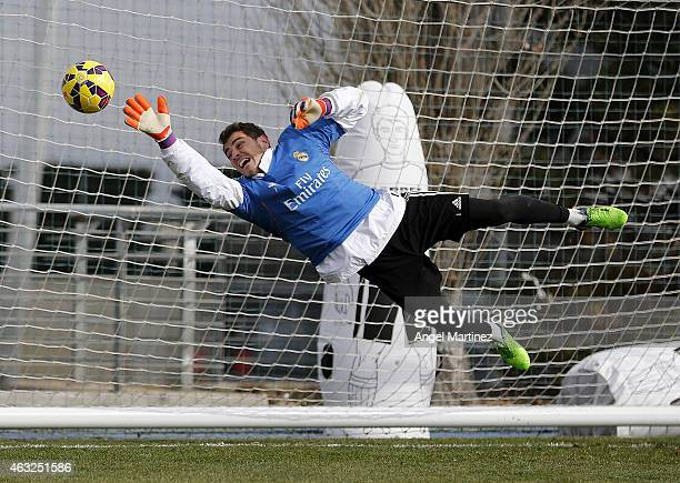 Iker Casillas of Real Madrid in action during a training session at Valdebebas training ground on February 12 2015 in Madrid Spain