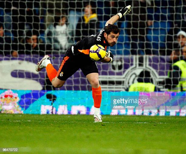 Iker Casillas of Real Madrid in action during the La Liga match between Real Madrid and Espanyol at Estadio Santiago Bernabeu on February 6 2010 in...