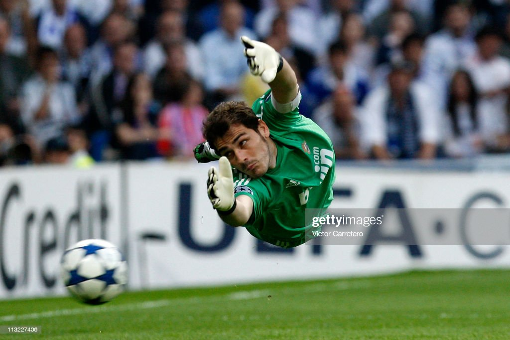 Iker Casillas of Real Madrid in action during the UEFA Champions League Semi Final first leg match between Real Madrid and Barcelona at Estadio Santiago Bernabeu on April 27, 2011 in Madrid, Spain.