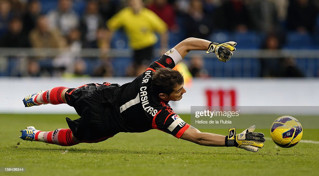 Iker Casillas of Real Madrid in actions during the La Liga match between Real Madrid and RCD Espanyol at Santiago Bernabeu stadium on December 16, 2012 in Madrid, Spain.