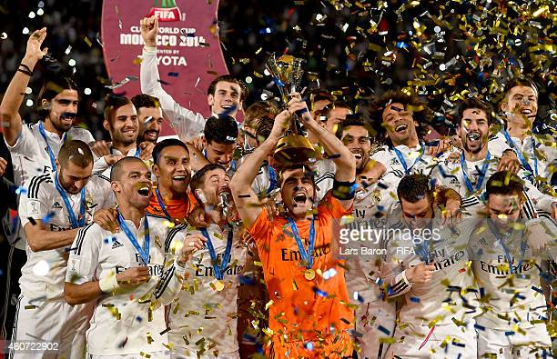 Iker Casillas of Real Madrid lifts the trophy after winning the FIFA Club World Cup Final between Real Madrid and San Lorenzo at Marrakech Stadium on...