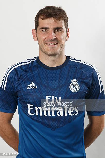 Iker Casillas of Real Madrid poses during a portrait session at Valdebebas training ground on September 1 2014 in Madrid Spain
