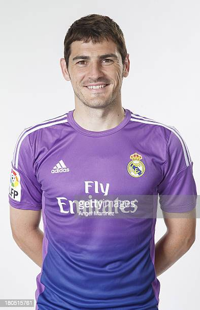 Iker Casillas of Real Madrid poses during the official team photo session at Valdebebas training ground on September 13 2013 in Madrid Spain