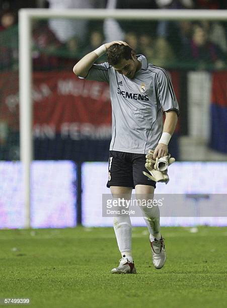 Iker Casillas of Real Madrid reacts after getting sent off during the Primera Liga match between Osasuna and Real Madrid at the Reyno de Navarra...