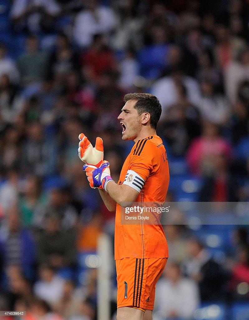Iker Casillas of Real Madrid reacts during the La Liga match between Real Madrid CF and Getafe CF at Estadio Santiago Bernabeu on May 23, 2015 in Madrid, Spain.