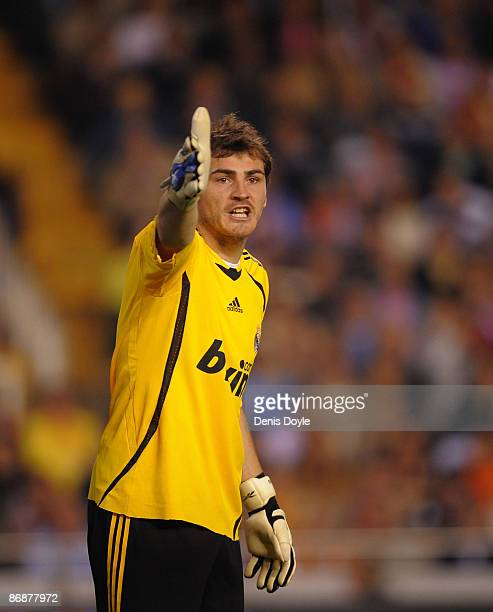 Iker Casillas of Real Madrid reacts during the La Liga match between Valencia and Real Madrid at the Mestalla stadium on May 9 2009 in Valencia Spain