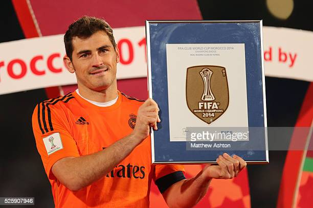 Iker Casillas of Real Madrid with the Official FIFA Champions Badge which they can now wear on their kit after winning the FIFA Club World Cup