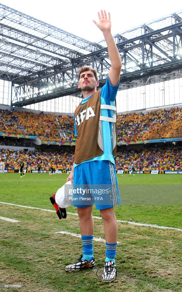 Iker Casillas of Spain acknowledges the fans after the 3-0 win in the 2014 FIFA World Cup Brazil Group B match between Australia and Spain at Arena da Baixada on June 23, 2014 in Curitiba, Brazil.