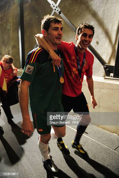 Iker Casillas of Spain and Alvaro Arbeloa of Spain celebrate after the 2010 FIFA World Cup South Africa Final match between Netherlands and Spain at...