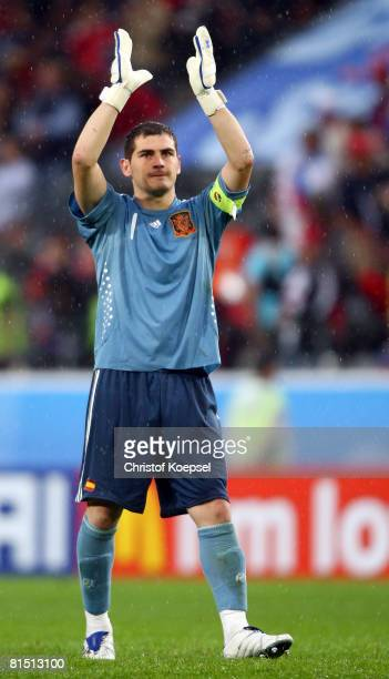 Iker Casillas of Spain celebrates victory after the UEFA EURO 2008 Group D match between Spain and Russia at Stadion Tivoli Neu on June 10 2008 in...