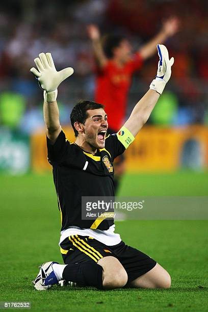 Iker Casillas of Spain celebrates victory after the UEFA EURO 2008 Final match between Germany and Spain at Ernst Happel Stadion on June 29, 2008 in...