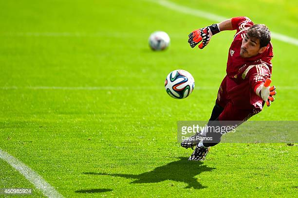 Iker Casillas of Spain in action during a Spain training session at Centro de Entrenamiento do Caju on June 21 2014 in Curitiba Brazil