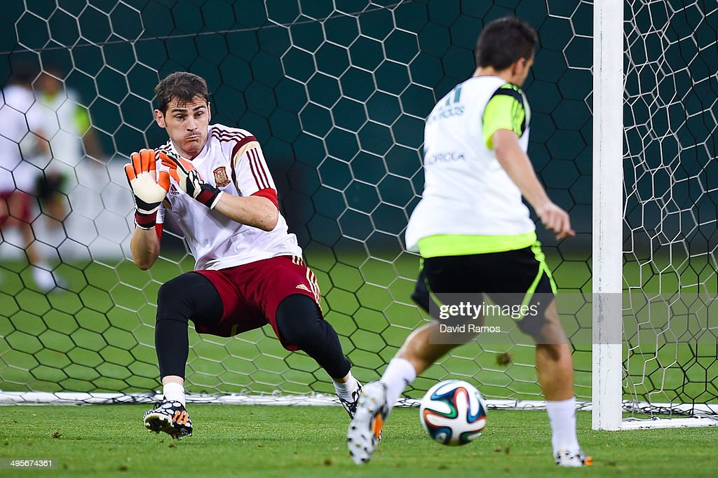 Iker Casillas of Spain in action during a training session of the Spain National Team at the Robert F. Kennedy Stadium on June 4, 2014 in Washington, DC.