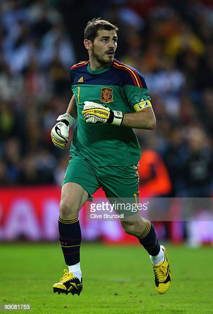 Iker Casillas of Spain in action during the friendly International football match Spain against Argentina at the Vicente Calderon stadium in Madrid...