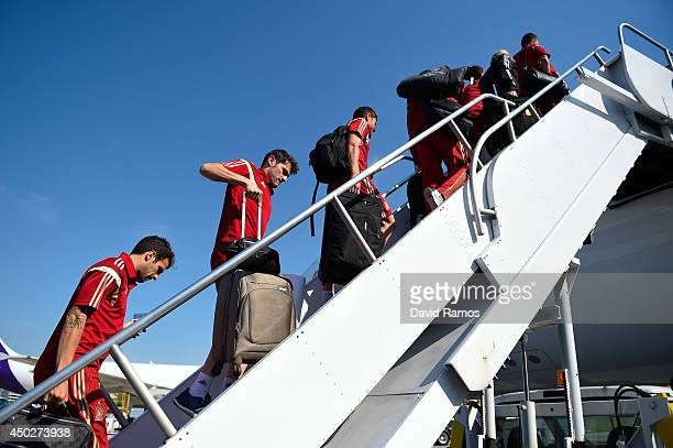 Iker Casillas of Spain looks on as hey gets in the aircraft heading to Curitiba for the 2014 FIFA World Cup at the Baltimore Washington International...