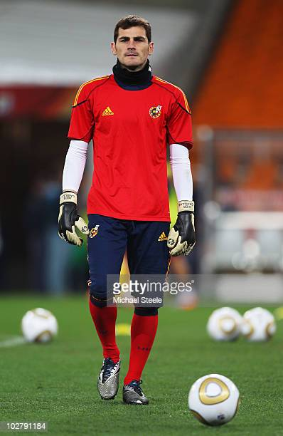 Iker Casillas of Spain looks on during a Spain training session ahead of the 2010 FIFA World Cup Final at Soccer City Stadium on July 10 2010 in...