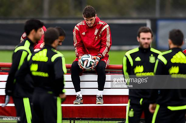 Iker Casillas of Spain looks on during a Spain training session at Centro de Entrenamiento do Caju on June 20 2014 in Curitiba Brazil
