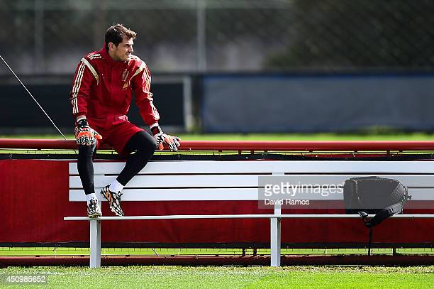Iker Casillas of Spain looks on during a Spain training session at Centro de Entrenamiento do Caju on June 21 2014 in Curitiba Brazil