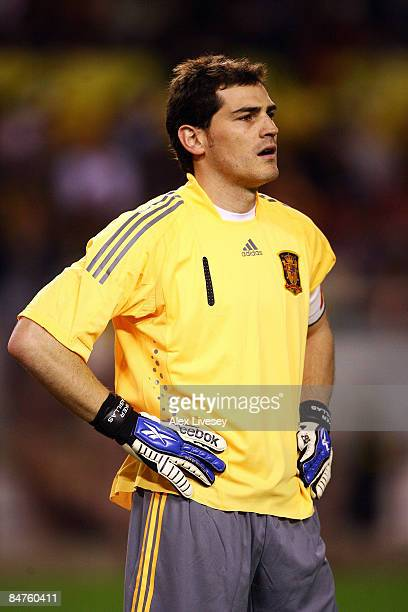 Iker Casillas of Spain looks on during the International Friendly between Spain and England at the Ramon Sanchez Pizjuan Stadium on February 11 2009...
