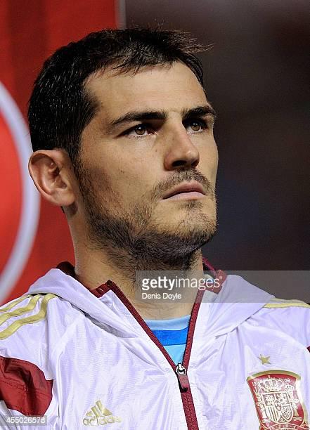 Iker Casillas of Spain looks on prior to the start of the UEFA EURO 2016 Group C Qualifier between Spain and FYR of Macedonia at Estadio Ciutat de...