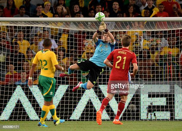 Iker Casillas of Spain makes a save during the International friendly match between South Africa and Spain at Soccer City Stadium on November 19,...