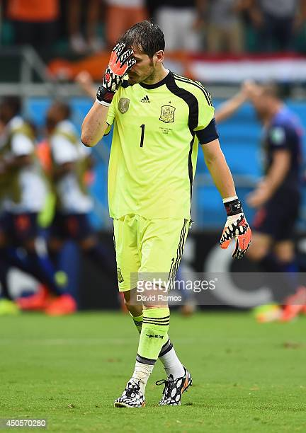 Iker Casillas of Spain reacts after allowing the Netherlands fourth goal during the 2014 FIFA World Cup Brazil Group B match between Spain and...