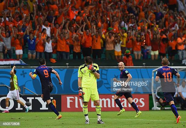 Iker Casillas of Spain reacts after allowing the Netherlands fourth goal to Robin van Persie during the 2014 FIFA World Cup Brazil Group B match...