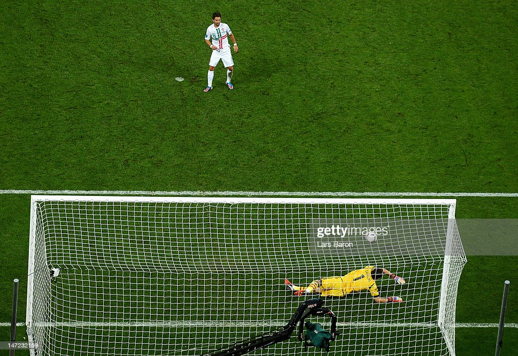 Iker Casillas of Spain saves a penalty from Joao Moutinho of Portugalduring the UEFA EURO 2012 semi final match between Portugal and Spain at Donbass Arena on June 27, 2012 in Donetsk, Ukraine.
