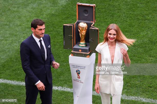 Iker Casillas of Spain unveils the World Cup trophy prior to the 2018 FIFA World Cup Russia group A match between Russia and Saudi Arabia at Luzhniki...