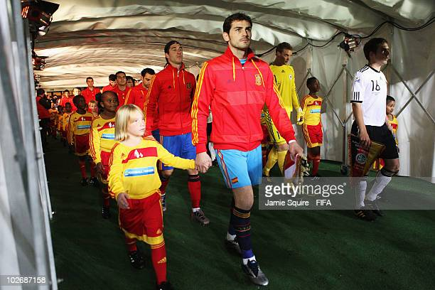 Iker Casillas of Spainleads his team down the tunnel ahead of the 2010 FIFA World Cup South Africa Semi Final match between Germany and Spain at...