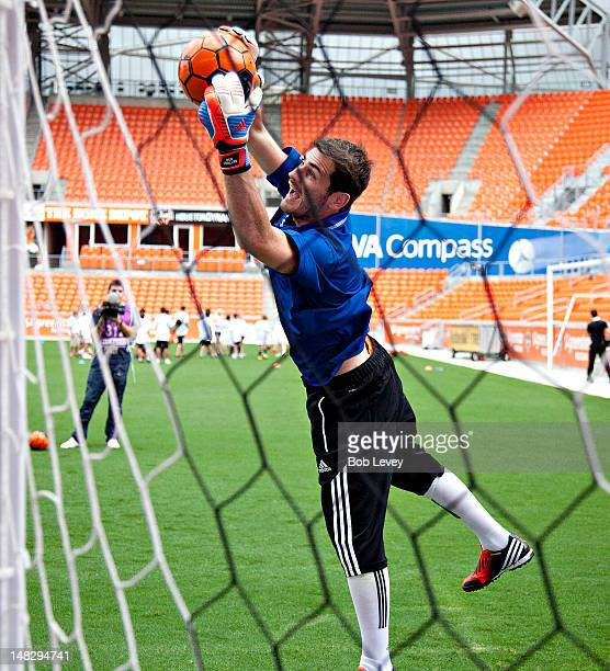 Iker Casillas participates in a private soccer for 100 plus kids as BBVA Compass and Real Madrid Foundation Launch Sports And Achievement Academy at...