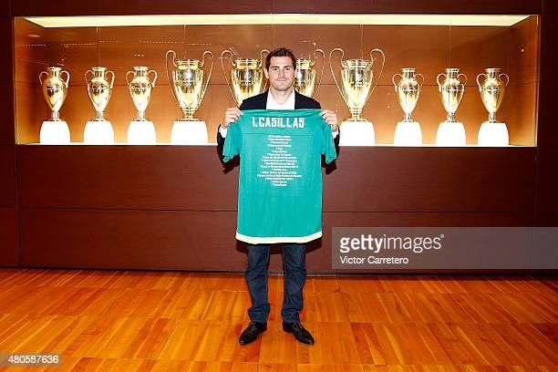 Iker Casillas poses before a press conference to announce that he leaves Real Madrid football team on July 13 2015 in Madrid Spain