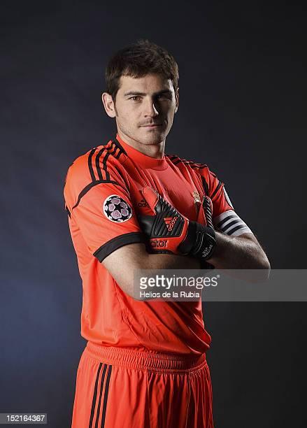 Iker Casillas poses during the Real Madrid CF presentation at Valdebebas training ground on September 13, 2012 in Madrid, Spain.