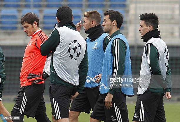 Iker Casillas, Raul Albiol, Sergio Ramos, Alvaro Arbeloa and Jose Callejon of Real Madrid attend a training session ahead of their UEFA Champions...