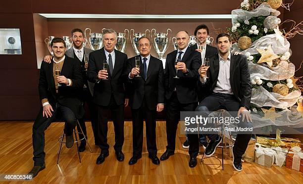 Iker Casillas, Sergio Ramos, head coach Carlo Ancelotti, president Florentino Perez, basketball head coach Pablo Laso, basketball player Sergio Llull...