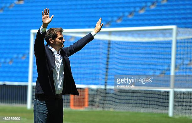 Iker Casillas waves to fans at the Santiago Bernabeu stadium after attending a press conference to announce that he will be leaving Real Madrid on...