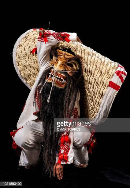 Iker Daniel Gonzalez Davila poses for a photograph with his traditional costume during the presentation of the Huey Atlixcayotl Festival on September...