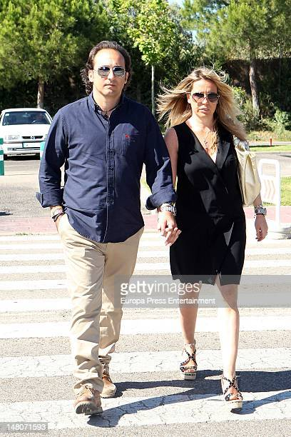 Iker Jimenez and Carmen Porter attend Pedro Rodriguez's funeral the general manager of Quarzo Company at Tanatorio La Paz on July 7 2012 in Madrid...