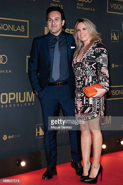 Iker Jimenez and Carmen Porter pose during a photocall the 62st Ondas Awards 2015 at CCIB Cente Convencions Internacional Barcelona on November 24...