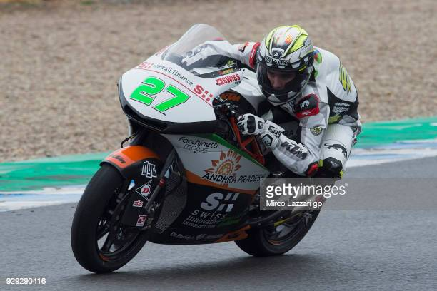 Iker Lecuona of Spanish and Swiss Innovative Investors rounds the bend during the Moto2 Moto3 Tests In Jerez at Circuito de Jerez on March 8 2018 in...