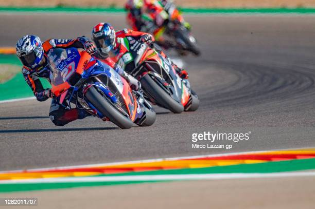 Iker Lecuona of Spanish and Team KTM Tech 3 leads the field during the qualifying for the MotoGP of Teruel at Motorland Aragon Circuit on October 24,...