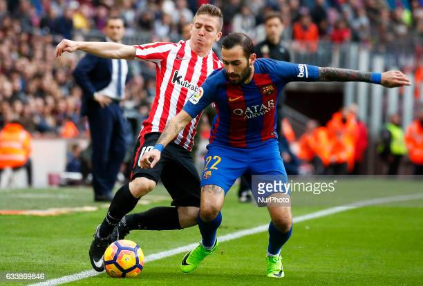 Iker Muniain and Aleix Vidal during La Liga match between FC Barcelona v Athletic Club in Barcelona on February 04 2017