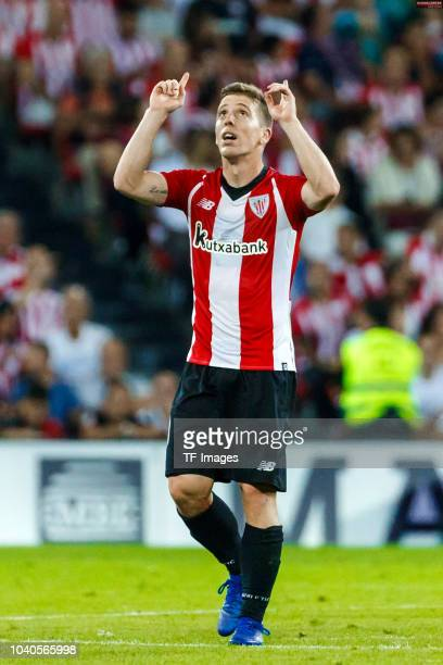 Iker Muniain of Athletic Bilbao celebrates after scoring his team`s first goal during the La Liga match between Athletic Club and Real Madrid CF at...