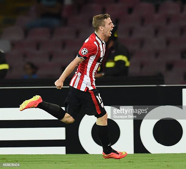Iker Muniain of Athletic Bilbao celebrates after scoring the opening goal during the first leg of UEFA Champions League qualifying playoffs round...